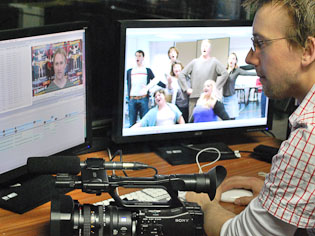 David Leek with a Sony Z1 camera, using Final Cut Pro to edit the footage