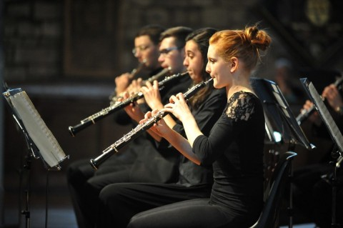 young woodwinds section in performance