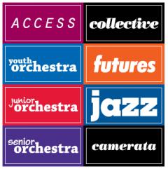 logos of the eight NYOS ensembles